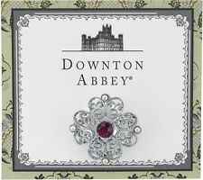 Downton Abbey Silver Tone Fillagree Violet Purple Crystal Brooch Pin 17880