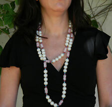 """Wm deLillo Faux Pearl, Turquoise, Amethyst & Plastic Bead GoldTone Necklace 58"""""""
