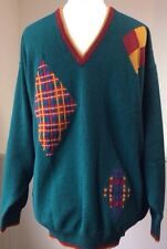 "New Vintage Glenmuir 44"" Lambswool Golf Jumper Sweater Green V Neck Wool Argyle"