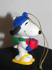 """Estate: Easter Decor,Snoopy Hard Rubber 2-3/8"""" in Snow Shoes with Present LOOK"""