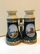 Antique French enameled binoculars hand painted Europe scene 19TH (m1423)