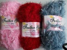 Feather yarn, bulky soft and fuzzy baby yarn, deep red/pink/gray, mixed 3