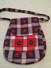 Red-White-Blue Quilted Cloth Cotton Purse Tote Handbag ~ Flap Pocket ~ 11x9½x1½
