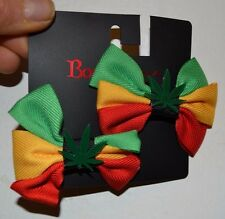 Body Rage by Spencers RASTA POT LEAF Bow Ribbon Barrette Hair Clip **NEW**