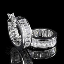 18K White Gold ICED OUT Simulated Diamond Emerald Cut Huggie Hoop Earring