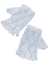 White Lace 80's Madonna Pop Bride Gothic Fancy Dress Fingerless Gloves Womans