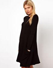 Tunika Longshirt Damen mit Taschen Kleid Minikleid S M L XL 36 - 42  Baumwolle