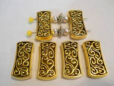 6 - 2 HOLES ANTIQUE GOLD PLATED DESIGNER STYLE RECTANGLE SLIDER SPACER BEAD BAR