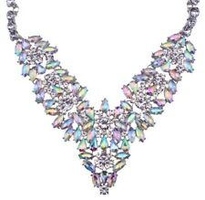 IRIDESCENT AURORA BOREALIS RHINESTONE SILVER Art Deco Pendant Statement Necklace