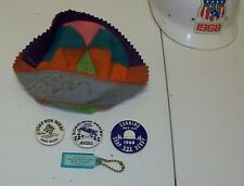 Vintage 1968 SOAP BOX DERBY Autographed Beanie & Pinback Buttons AKRON OH Killy
