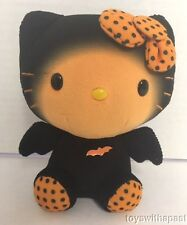 "Ty HELLO KITTY Bat Black Orange Halloween 6"" Plush Polka-Dots Sanrio Small Doll"