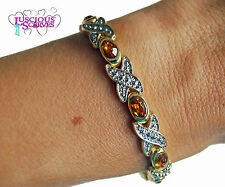 LADIES SUPER STRONG BIO MAGNETIC GOLD ALLOY HEALING BRACELET WITH AMBER STONES