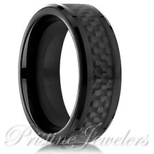 Tungsten Carbide Black Carbon Fiber Ring Men's Jewelry Promise Wedding Band 8-14