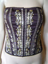 BNWT WOMENS BROWN & GOLD SEQUINED BODICE/CORSET STYLE SLEEVELESS TOP UK SIZE 10