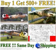 "Albatros D.V 58"" WS RC Airplane Full Size Plans & Templates in PDF Format on CD"