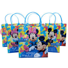 """Disney Mickey Minnie Mouse Party Gift Bag Set of 6 - Blue 8.5"""" Reusable Tote Bag"""