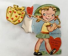Cute Blonde Girl Pig Tails Traveling Your Way Fold Out Vintage Valentine Card