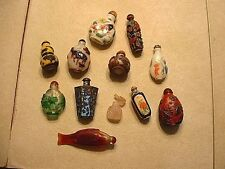 Estate Lot Of 12 Vintage Chinese Snuff Bottles Glass, Stone & Metal