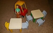 VINTAGE LITTLE TIKES COZY COUPE RED CAR VEHICLE and DOLLHOUSE FURNITURE, man