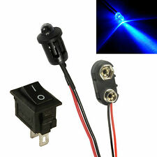Flashing Blue Car Dummy Fake Alarm LED + PP3 Connector + Switch Kit