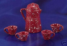 Miniature Dollhouse Red Enamelware Coffee Set 1:12 Scale New