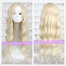 75cm Alice in Wonderland White Queen curly wave blonde cosplay wig + a wig cap