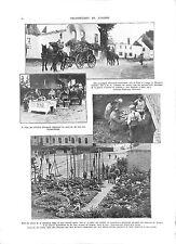 Officiers Deutsches Heer Incendie Village de Mouland à Visé WWI ILLUSTRATION