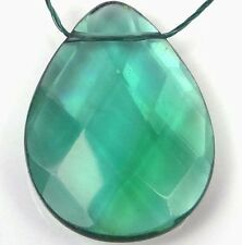 40mm Sea Green glass Quartz Faceted Teardrop Pendant Bead