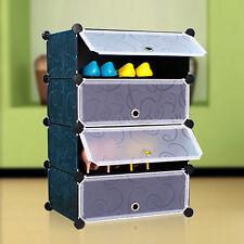 Interlocking Cube Storage Shoe Rack Stand Organizer Holder for 8 Pairs Shoes