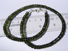 117 carats checkered cut beads 5x2mm MOLDAVITE necklace 18 inches $500+ retail