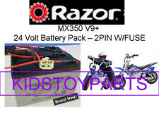 New! 24V Battery Pack for Razor MX350 DIRT ROCKET BIKE V9+ (2 pin w/fuse)