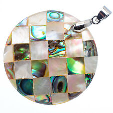 """Mother of Pearl Natural Abalone Sea Shell Round Pendant 1 1/2"""" Jewelry #04-Z"""