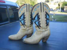 Vintage Distressed Heels Soiled Miss Capezio Butterfly Western Cowgirl Boots 9.5