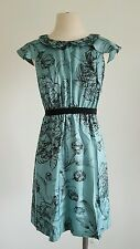 Anthropologie Leifsdottir Iskaldur Size 4 Blue Floral Silk Retro Tea Dress