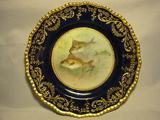 Doulton & Slater Hand-Painted Gold Encrusted Fish Plate: signed C.Hart 1891-1901