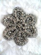 XR65 Black Backing Silver Beaded Crystal Rhinestone Applique Bridal Motif Crafts