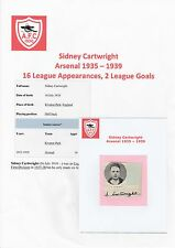 SIDNEY CARTWRIGHT ARSENAL 1935-1939 VERY RARE ORIGINAL SIGNED CUTTING & MAG PIC