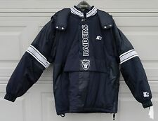 Vintage Oakland Raiders Starter 1/2 Zip Hooded Puffer Jacket Parka Men's (M)