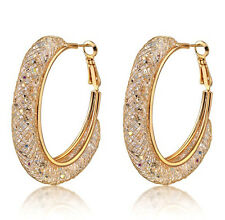 18k Gold Stardust Large Hoop Earrings made w/ Swarovski Crystal Bling Stone