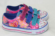 Skechers Girls Light Up 'Twinkle Toes Shuffles' Sweet Spirit Sneakers- Pink 13US