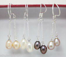 Wholesale 4 Pairs 6-7mm Cultured Freshwater Pearl Sterling Silver Drop earrings