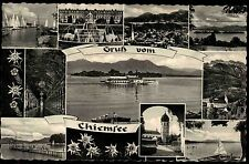 Chiemsee Bayern s/w Mehrbild Grußkarte ~1950/60 gelaufen Badesteg Brunnen Boote