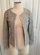Line & Dot Fringed Gray Woven Blazer Jacket w/Spikes & Metallic Threads XS