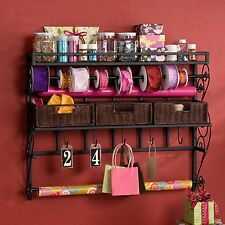 Wall Mount Storage Rack Large Craft Room Display Organiser Baskets Hooks Shelf