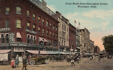 Antique POSTCARD c1907-20 Front Street from Harrington Corner WORCESTER MA 13401