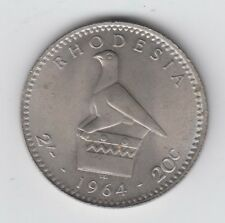 Rhodesia Two and Six 2/6d 25 cents 1964 aUNC