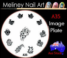 A35 Stamping Nail Art Image Plate Design Round XL Stencil metal Easter bunny egg