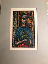"""Nice Lewis J Miller """"Girl With Sunflowers"""" Encaustic Painting - Matted/Signed"""
