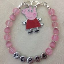 Hand Crafted - Personalised Children/Babies PEPPA PIG Birthday Named Bracelet**