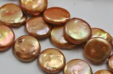 15-16mm Copper Brown Coin Flat Round Disc Freshwater Pearls